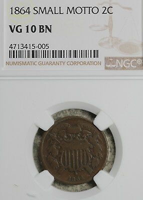Better Date 1864 Small Motto Two Cent Piece!  NGC VG10