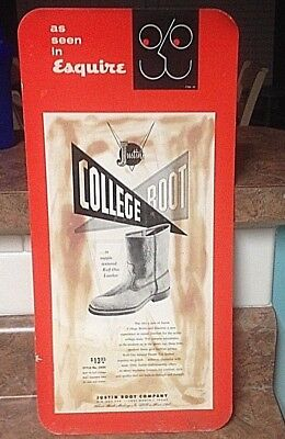 """Justin Boot Company """"College Boot"""" $13.95, Counter-Top Easelback SIGN, 17X8"""