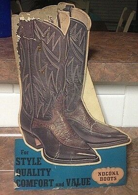 Nocona BOOTS, Stand-up, Counter-top, Easel-back SIGN. 1950-60. from old store.