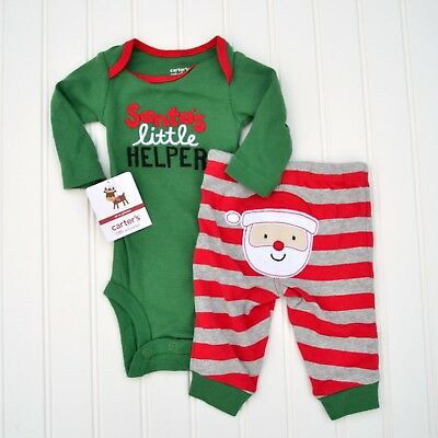 NEW Carter's 2 Piece First Christmas Outfit Set Bodysuit Pants Santa's Helper
