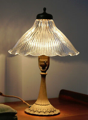 Antique Brass Lamp with Large Ruffled Fluted Pleated Clear Glass LAMP SHADE