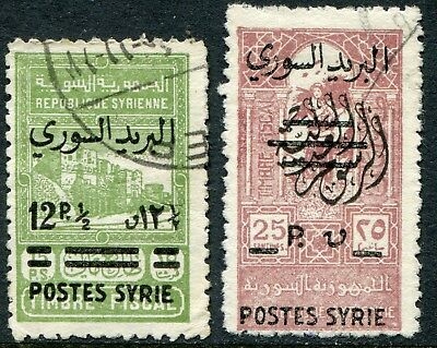 Syria 1945 opt. on fiscal issue 12½p/15p & 25p/25s SG 414-415 used (cat. £9.50)