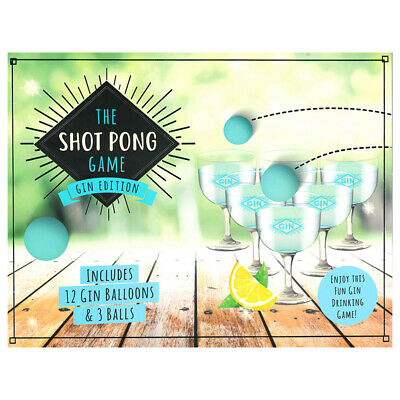 Gin Edition Shot Pong The Drinking Game 12 Plastic Glasses 3 Pong Balls