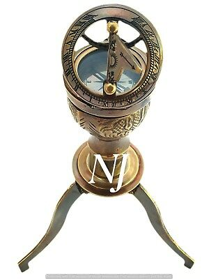 Brass Push Button Sundial Compass Pocket Compass Nautical Decor Maritime Gift