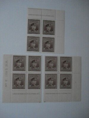 CANADA STAMP 3 x  PLATE BLOCK OF 4 STAMPS 2 CENTS KING GEORGE VI MINT NH-F 1942