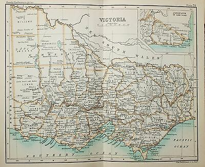 Antique Bartholomew Map - Victorian Small Folding Map - Australia, Victoria