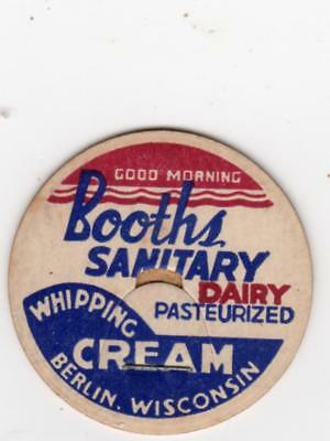 Booths Sanitary Dairy Berlin  Wi Whipping Cream, Milk Cap. Wisconsin. Near Mint