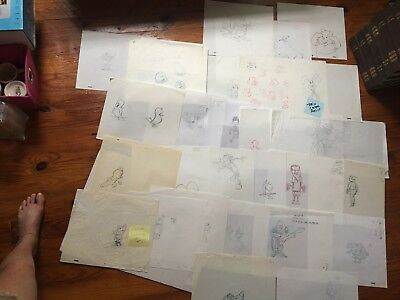 DISNEY NICKELODEON WARNER  MISCELLANEOUS Original Production Animation Drawings