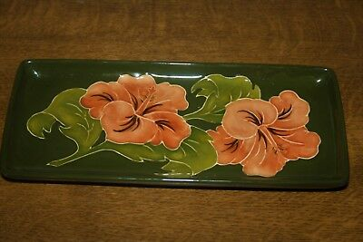 "Very Pretty Moorcroft ""Hibiscus"" English Rectangular Small Tray"