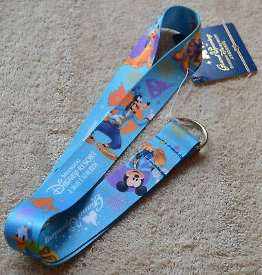 Disney Parks Shanghai Grand Opening Mickey and Friends Blue Pin Lanyard, NEW