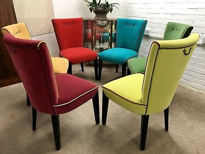 brand new 1f9b0 ca6b1 6 DINING CHAIRS newly upholstered in Multicoloured Velve