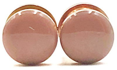 Handmade Blush Nude Gloss Rose Gold Plugs - Sizes 16g to 1inch