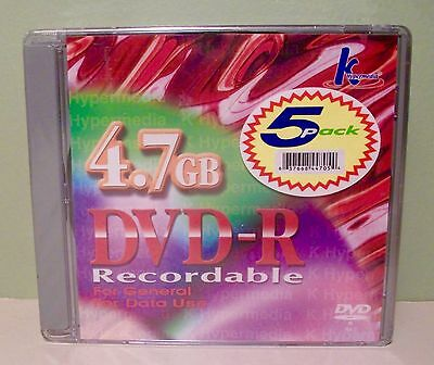 New Sealed K Hypermedia 4.7 GB DVD-R Recordable Discs 5 Pack