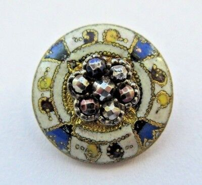 Gorgeous Antique~ Vtg French Champleve ENAMEL BUTTON w/ Cut Steel Accent (A10)