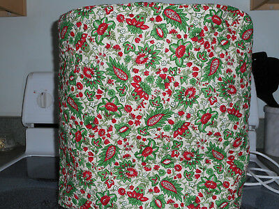 Quilted stand mixer cover - reversible, red, green and white print NEW