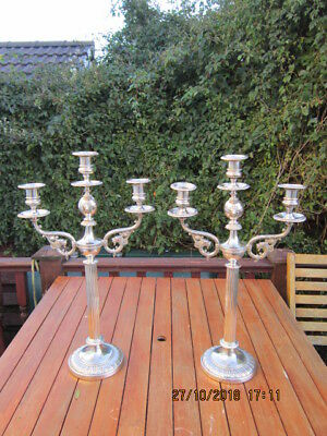 Antique Column Candelabras Silver Plated 22.5 Inch Tall