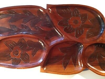 1972 Puerto Rico hand carved wooden dish