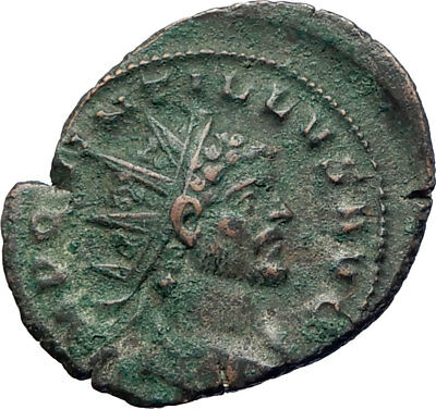 Quintillus 270AD Authentic Ancient Roman Coin FIDES TRUST Standards Rare i73655