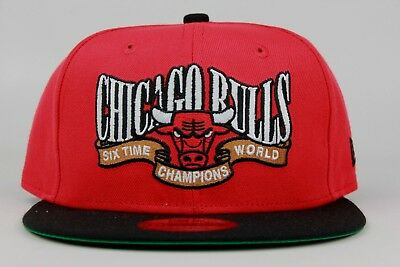 newest collection 940de 61c0a Chicago Bulls Six Time World Champions Red Black New Era 9Fifty Snapback Hat  Cap