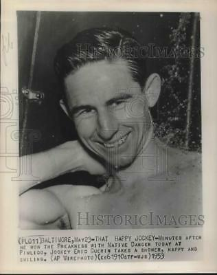 1953 Press Photo Jockey Eric Guerin Wins The Preakness With Native Danger