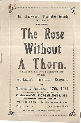 THE ROSE WITHOUT A THORN Jan.1935 at the WORKMEN'S INSTITUTE, BARGOED, WALES