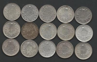 BRITISH INDIA - 15pc lot - George VI silver Rupees - 1940-45 - FINE-AU read on..
