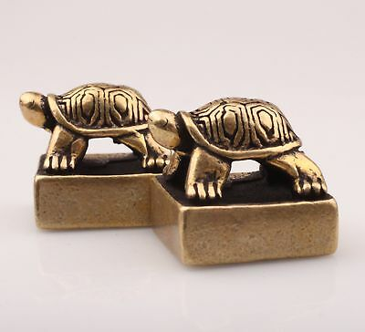 2 Chinese Old Bronze Unique Hand-Carved Turtle Statue Seal Figurine Collection