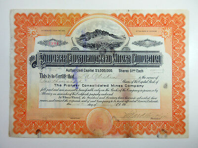 WY. Pioneer Consolidated Mines Co., 1914 1000 Shrs I/U Stock Certificate Alaska