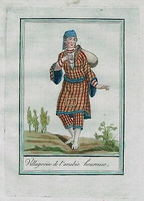 1780 - Saudi Arabia  Orient woman Islam costume engraving antique print