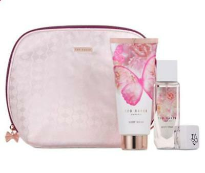 Brand New Ted Baker Floral Fancies Gift Set (Body Spray, Lip Balm & Body Wash)