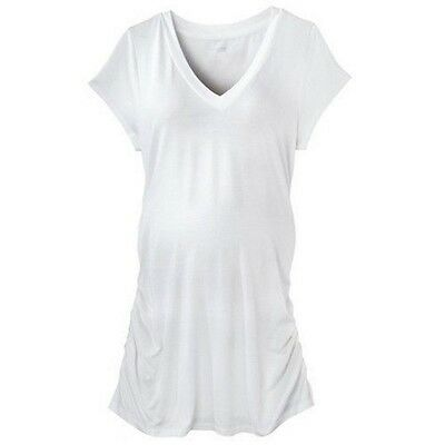 Liz Lange Maternity White V-Neck Tunic Short Sleeve T-Shirt XXL