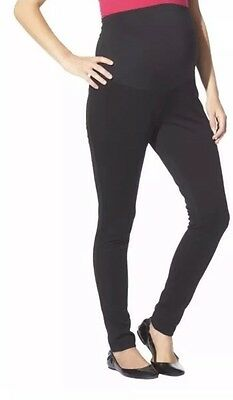 NWT Liz Lange Maternity Over The Belly Black Ponte Leggings Pants Womens Large L