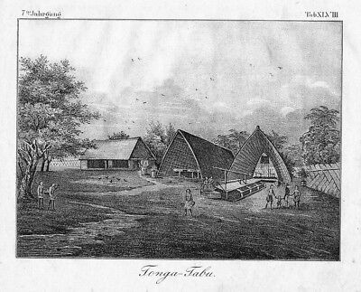 1830  Kingdom of Tonga South Pacific Ocean Lithographie