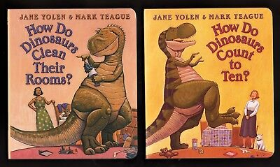 How Do Dinosaurs Clean Their Rooms AND Count to Ten - NEW Set of 2 Board books