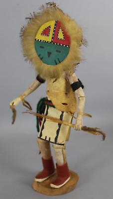 Vintage Carved Wood & Leather, Native American Indian Hopi Sun God Kachina Doll