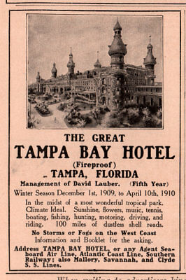 1910 B Ad  Tampa Bay Hotel Lauber Clyde Lines Mallory