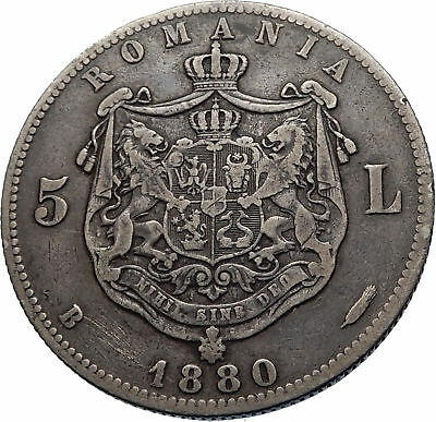 1880 LARGE Romania Silver 5 Lei w CAROL I and COAT OF ARMS Antique Coin i71828