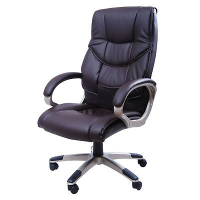 Swivel Office Chairs PU Leather Adjustable Business Computer Office Chair Brown