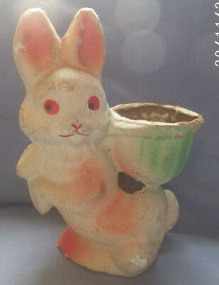 Antique Vintage Paper Mache Rabbit Candy Container