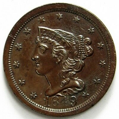 1849 Braided Hair Half Cent - UNC - ½c Copper - Uncirculated