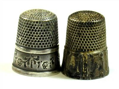 Simons Bros Sterling Silver Thimbles - Signed, Hallmark - Etched Designs