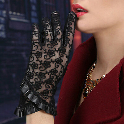 Black Women's Genuine Leather & Lace Gloves Touch Screen Sunproof Flounces Deco