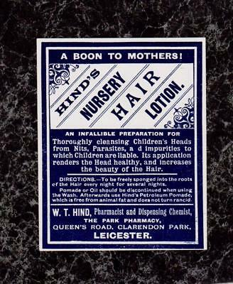 Lot 2 1920s Labels W T Hind's Nursery Hair Lotion & Leicester Hair Restorer UK