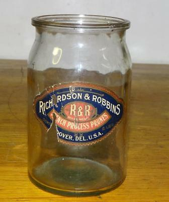 "Antique ""RICHARDSON & ROBBINS"" FRENCH PROCESS PRUNES 6 1/4"" Glass JAR w/LABEL"