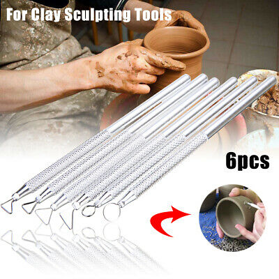 6pcs/Set Clay Sculpting Wax Carving Pottery Tools Polymer Ceramic Modeling Kit