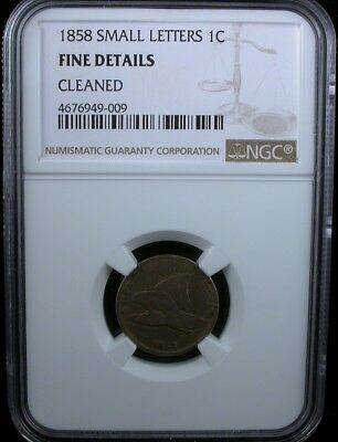 1858 SMALL LETTERS 1c NGC FINE DETAILS 1858 FLYING EAGLE CENT 1c