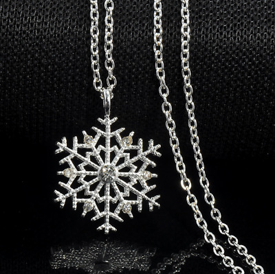 Charm Silver Frozen Snowflake Crystal Necklace Pendant Chain Christmas Gifts
