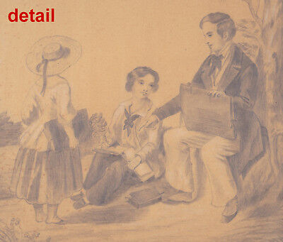 circa 1850 large signed fine pencil drawing: an Art Teacher and His Two Students