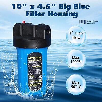 "10"" x 4.5"" Big Blue Whole House Tank Water Filter Housing 1"" Port"
