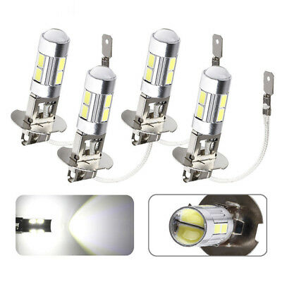 4x H3 Car LED White Fog Driving DRL Light Bulbs 6000K Lens 10SMD Lamps High Beam
